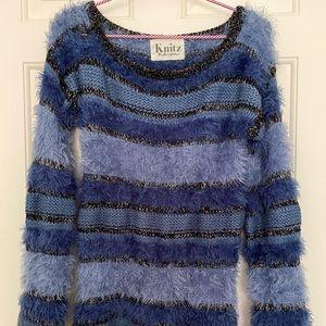 Blue combination metallic knit sweater